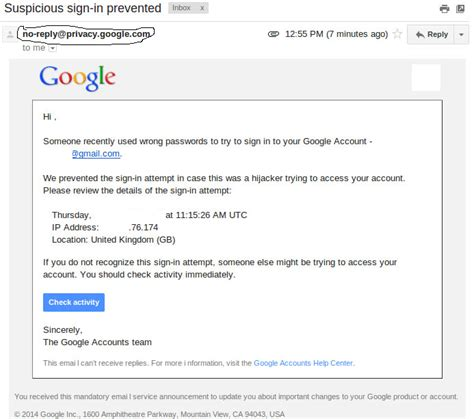 """""""Sign-in Attempt Prevented""""-Email from Google"""