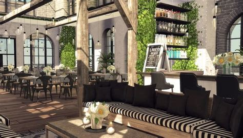 Blooming Rosy: Skylight Restaurant and Bar • Sims 4 Downloads